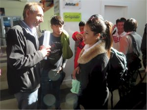 Chandra Dahal at the airport welcoming the latest new Refugee families to Nelson August 2016.