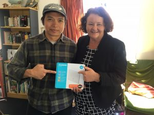 First Spark Jump connection: 20/20 Trust's Sue West and Naseem Khan connect an Auckland family with a Te Kura correspondence school pupil.