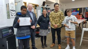 Tapaki Togiatau (right) won prize for most blogs posted over the summer break; Phoenix Allan won the extended time blog prize.